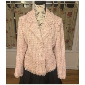 Thalia Sodi Blazer Tweed Pink with Fringe Size XL